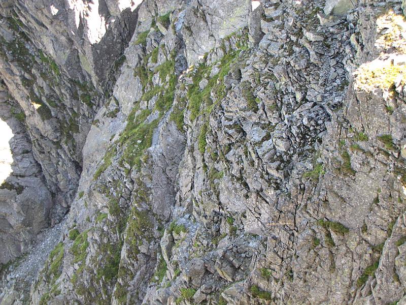 Północna ściana Wielkiej Orlej Turniczki. Wśród skał dostrzec można trasę szlaku wraz z drabinką.