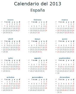 Calendario 2013 España feriados fiestas