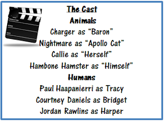 Director's clapboard with the cast names