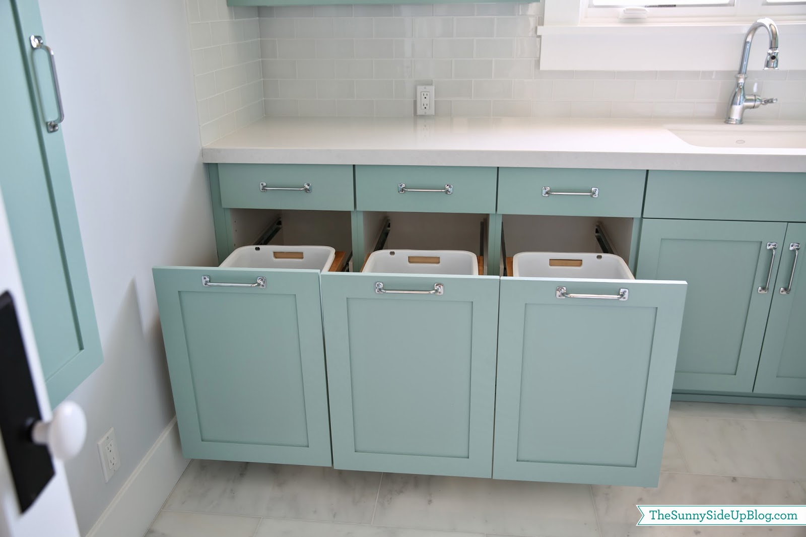 Upstairs laundry room the sunny side up blog - Laundry hampers for small spaces plan ...