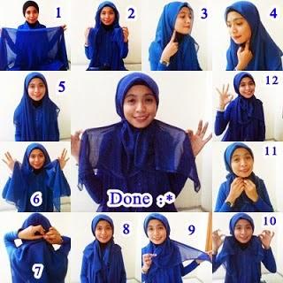 Gambar cara pakai jilbab pasmina panjang