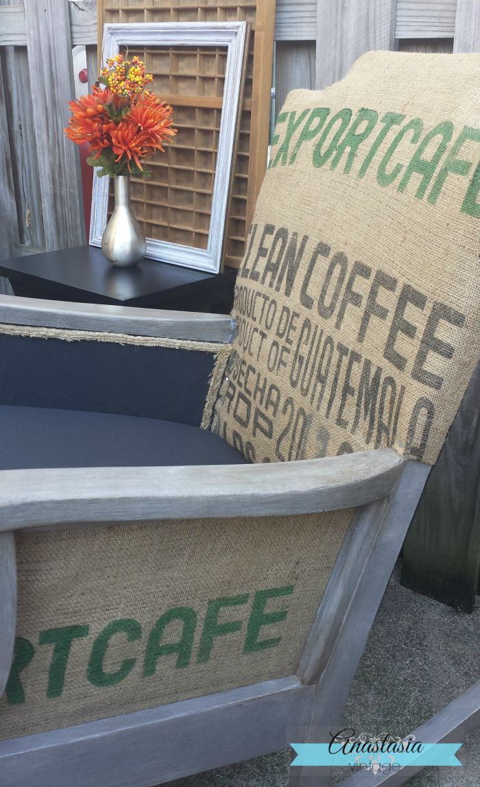 graphic coffee sack upholstered rocking chair