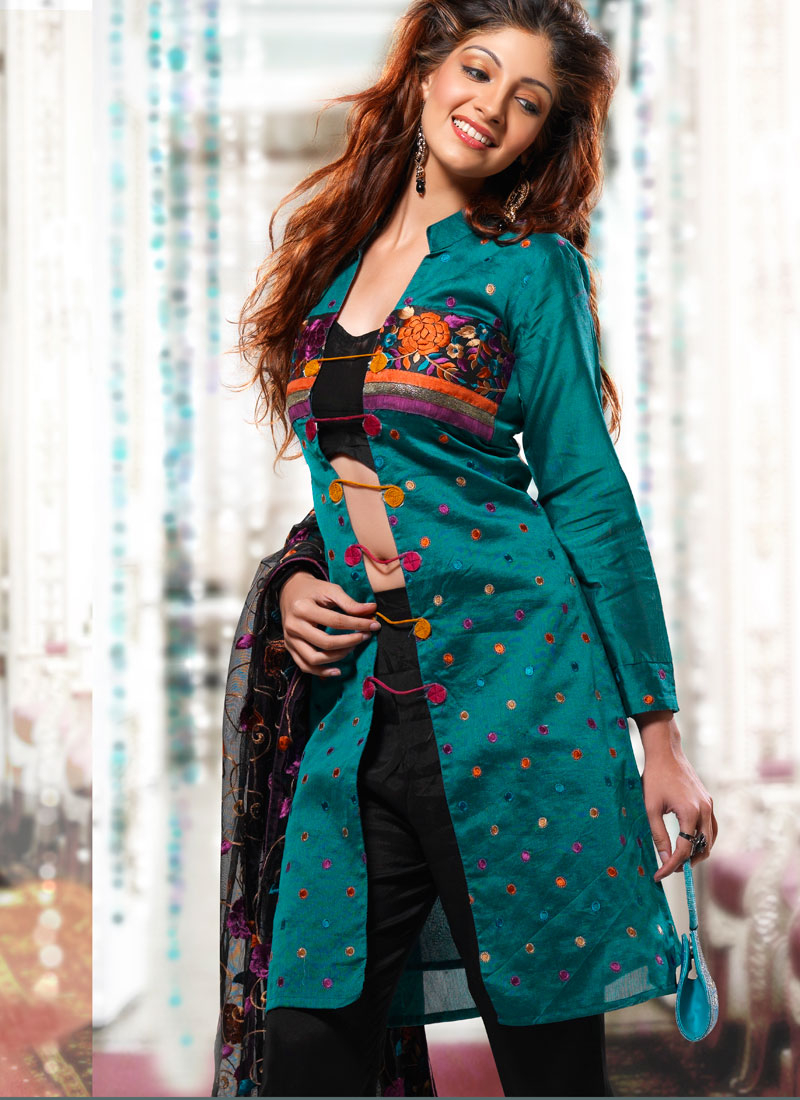 Teal and Black Shade Long Shirt with Trouser - Wedding Trouser Suit ...