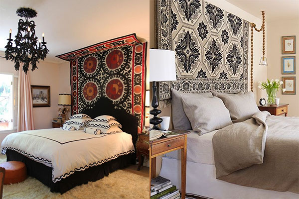bedroom tapestry. Tapestry as headboard Interiors by Jacquin  8 Ways to Hang A at Home How To