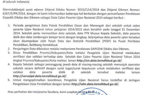 Data CaIon Peserta UN Diambil dari Dapodik