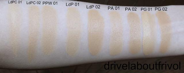 Guerlain foundation swatch Lingerie de Peau compact cream 01 02 Parure Pearly White liquid 01 02 Lingerie de Peau liquid 01 02 Parure Aqua liquid 01 02 Parure Gold 01 02