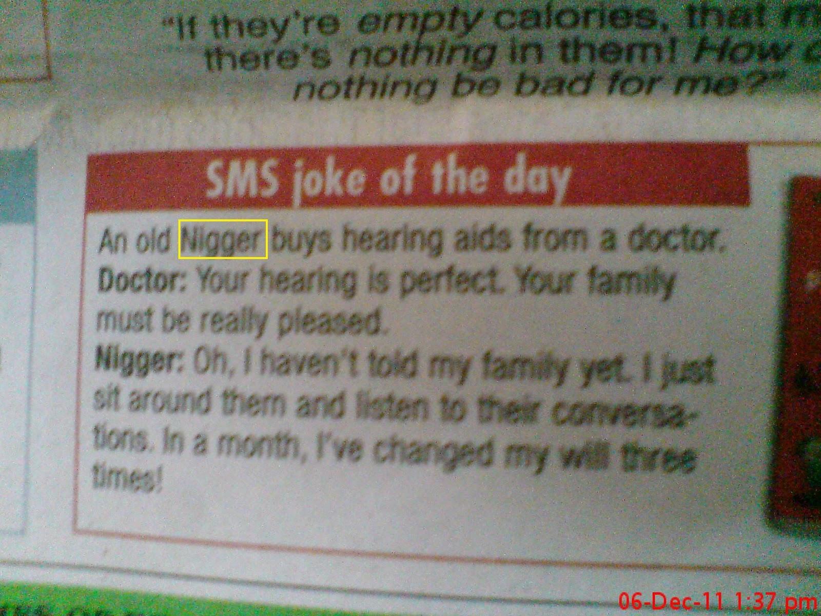 Bombay Times Nigger joke