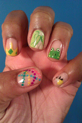 Princess and the frog, Tiana, Mardi Gras, green, nail art, mani