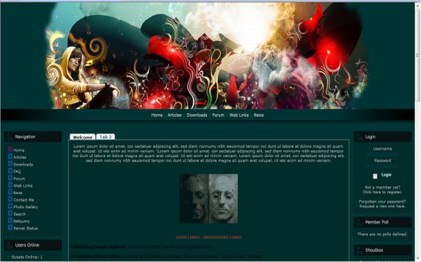 Free Art Floral Green Php-fusion Theme Template