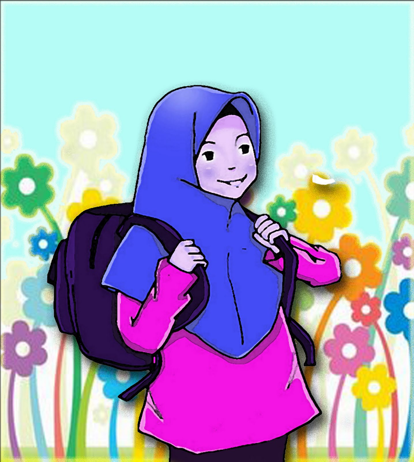 gambar kartun anak berangkat sekolah