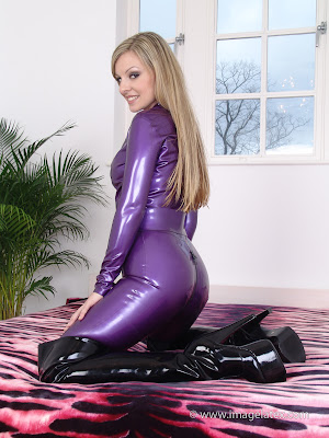 Hot Blonde Tanya Purple Latex Catsuit and Boots
