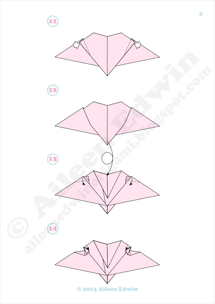 Origami Flying Heart Diagrams (Aileen Edwin)