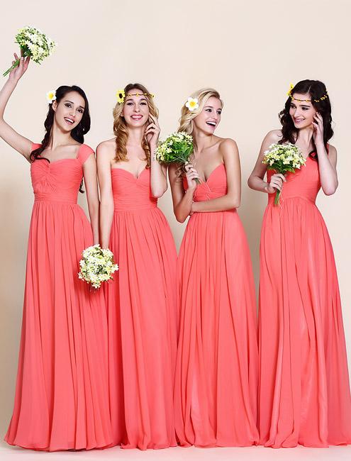 Coral Colored Bridesmaid Dresses