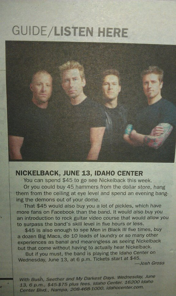 nickelback, boise weekly, josh gross