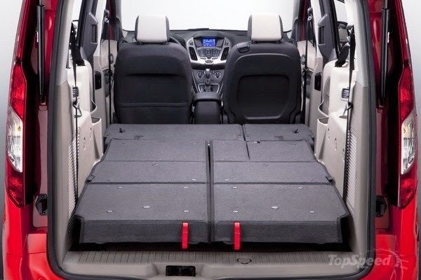 Folding the seats down in a Ford Transit Connect