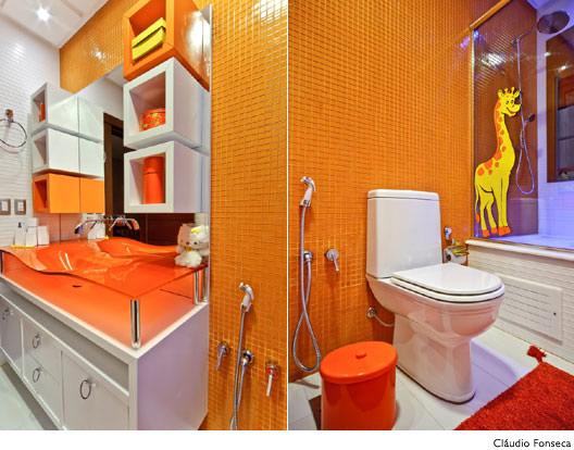 inspiração e diversão decoração em ; amarelo e laranja -> Decoracao Banheiro Laranja