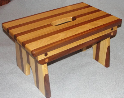 wood step stool - walnut and oak 