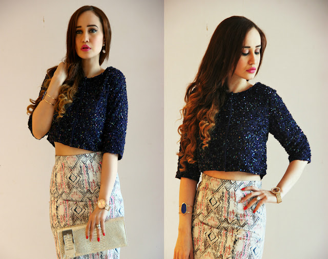 Femina FLAUNT Launch '15 at Shoppers Stop, Sequin Crop Top, Printed Pencil Skirt, Women's Party Wear