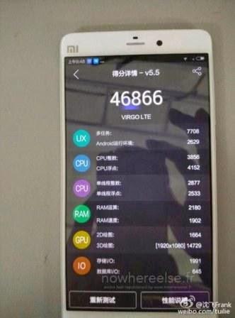 Xiaomi Mi5 mendapatkan skor 46,866 di AnTuTu