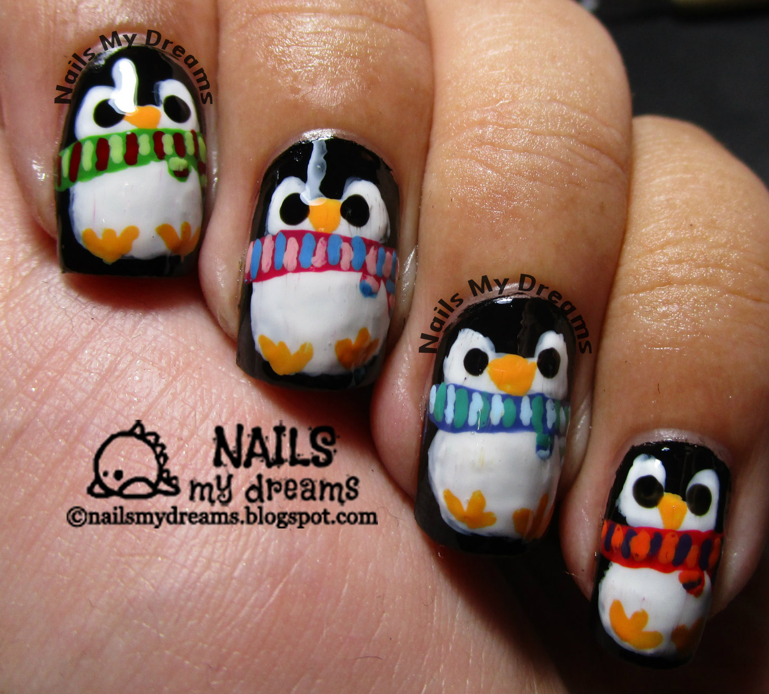 nails my dreams penguins with scarves nail art