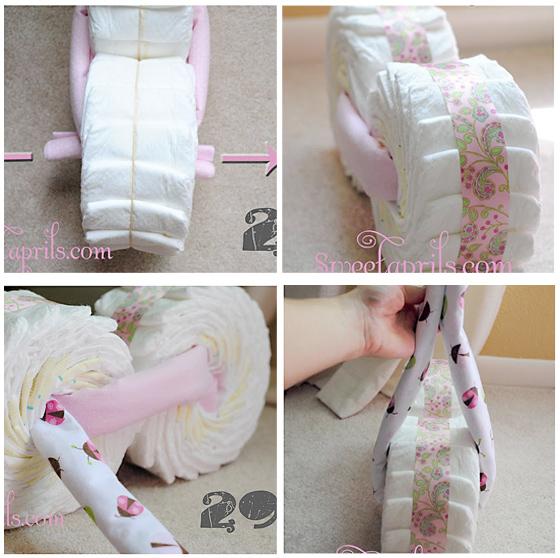 Como fazer moto de fraldas para decoração do Chá de Bebê