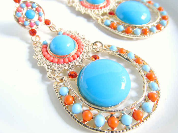 Details MyVintageSpirit - Gold, Orange & Blue Boho Dangle Earrings