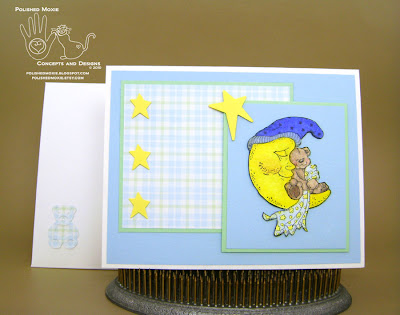 Picture of my handmade sleeping teddy bear baby card and its coordinating envelope