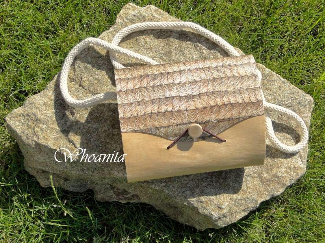 drewniana torebka z imitacją sznurka, decoupage