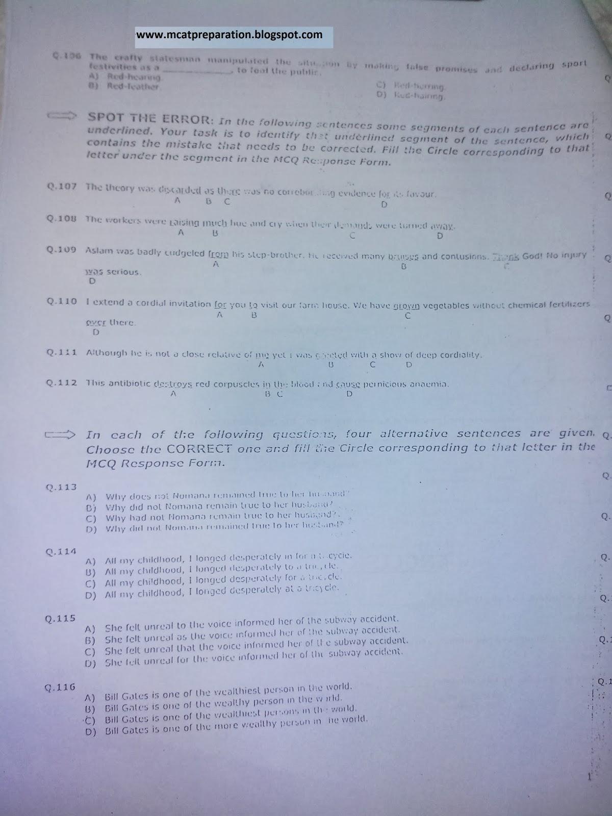 MCAT Sample Essay Questions