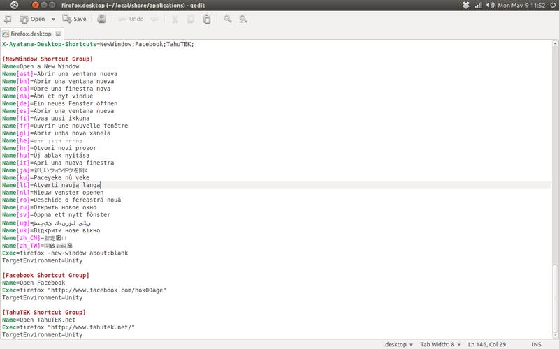Isi dari file 'firefox.desktop' setelah pengeditan