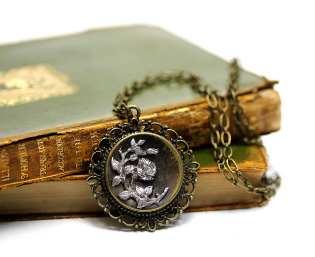 Antique Rose Necklace #edwardian #jewelry #rose