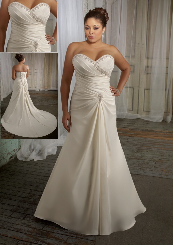 Trend fashion dresses mori lee plus size julietta for Plus size silk wedding dresses