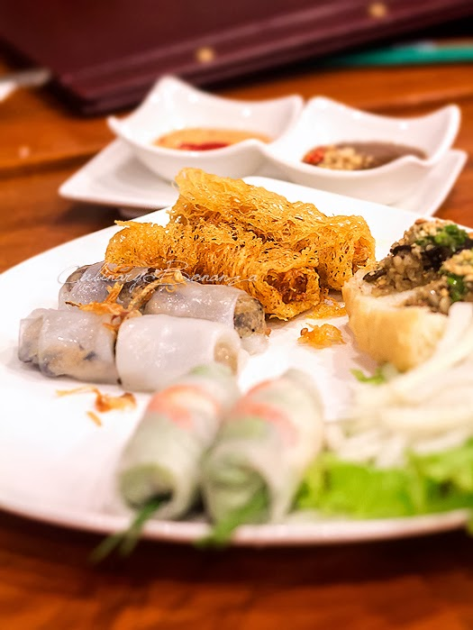 Platter of monViet - a combination of monViet's best appetizers served with 2 types of dipping sauces