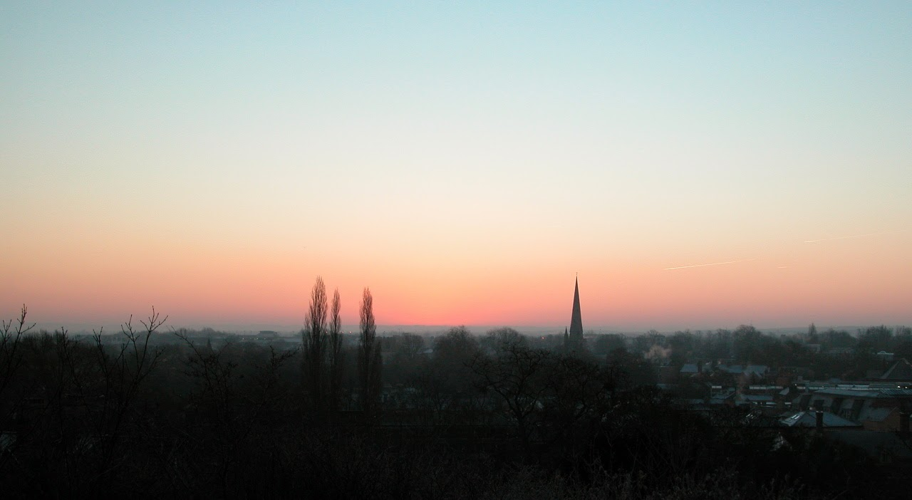 Cambridge's flat skyline at sunrise