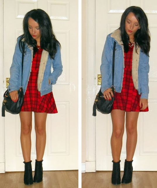 Blogger outfit wearing tartan dress chelsea boots