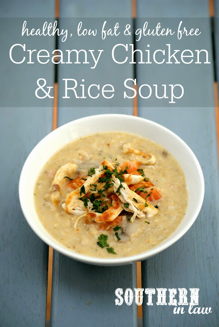 Healthy Creamy Chicken and Rice Soup Recipe  healthy, low fat, gluten free, clean eating friendly