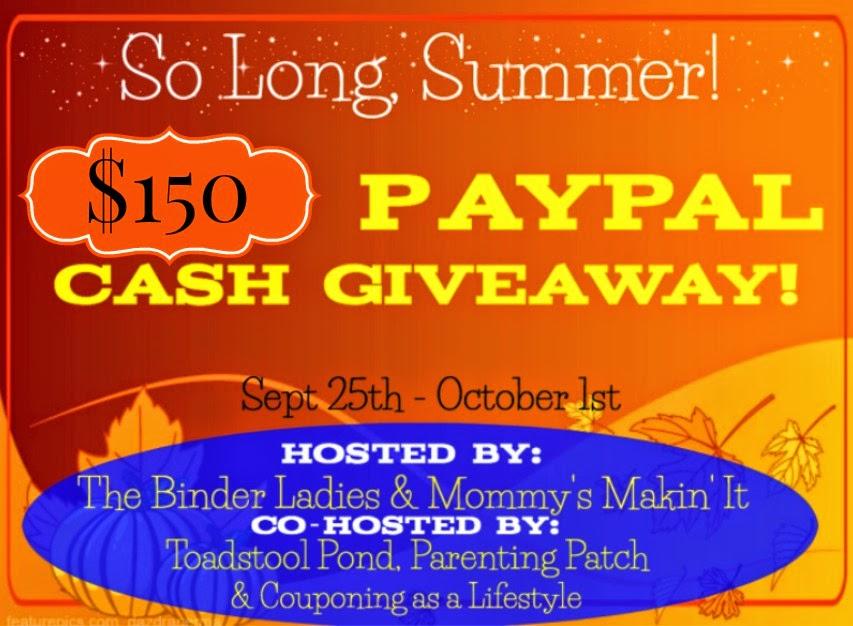 Enter the So Long Summer Cash Giveaway. Ends 10/1.