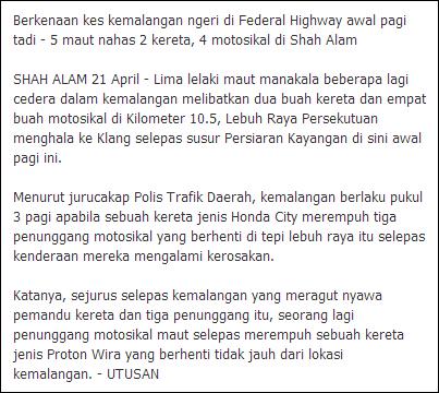video gambar kemalangan ngeri federal highway lebuhraya persekutuan 21 april 2013
