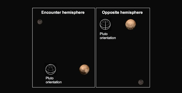 Pluto shows two remarkably different sides in these color images of the planet and its largest moon Charon taken by New Horizons on June 25 and June 27. Image credit: NASA/Johns Hopkins University Applied Physics Laboratory/Southwest Research Institute