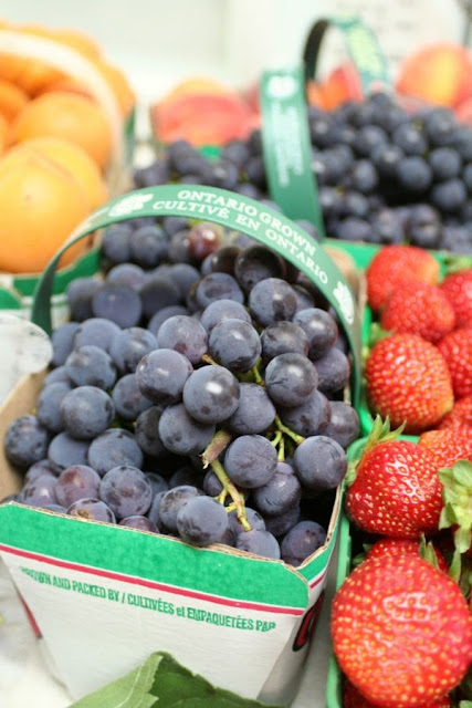 Focus on Life: Week 33 ~ In season: The farmer's market in Burlington, ON, a lovely late summer harvest: fruits - grapes, strawberries, apricots :: All Pretty Things