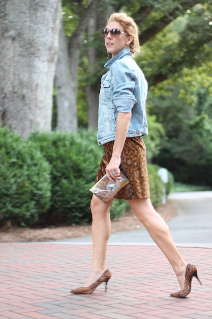 1969 Gap Denim Jacket, Nine West Flax Pumps, Cynthia Rowley Dress, JJ Winters Clutch