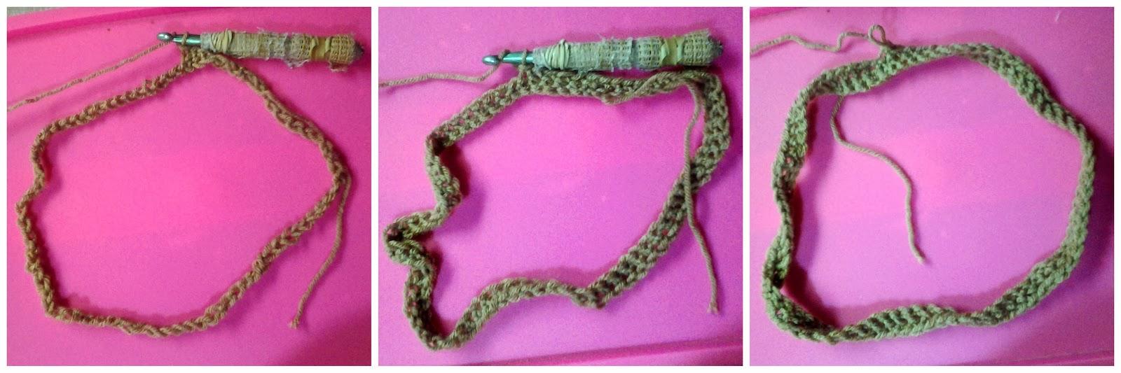 The crochet chain takes shape