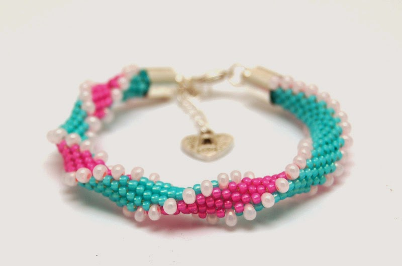 bransoletka koralikowa szydełkowa bead crochet bracelet 17b