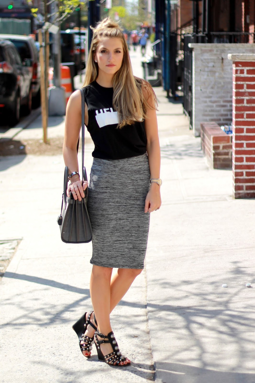 Helmut Lang Logo Tee,  Zara Pencil Skirt,  Balenciaga Arena Gladiator Wedges,  Saint Laurent Croc Sac de Jour