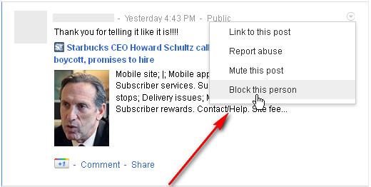 Google+ Triangle Menu: Block this person