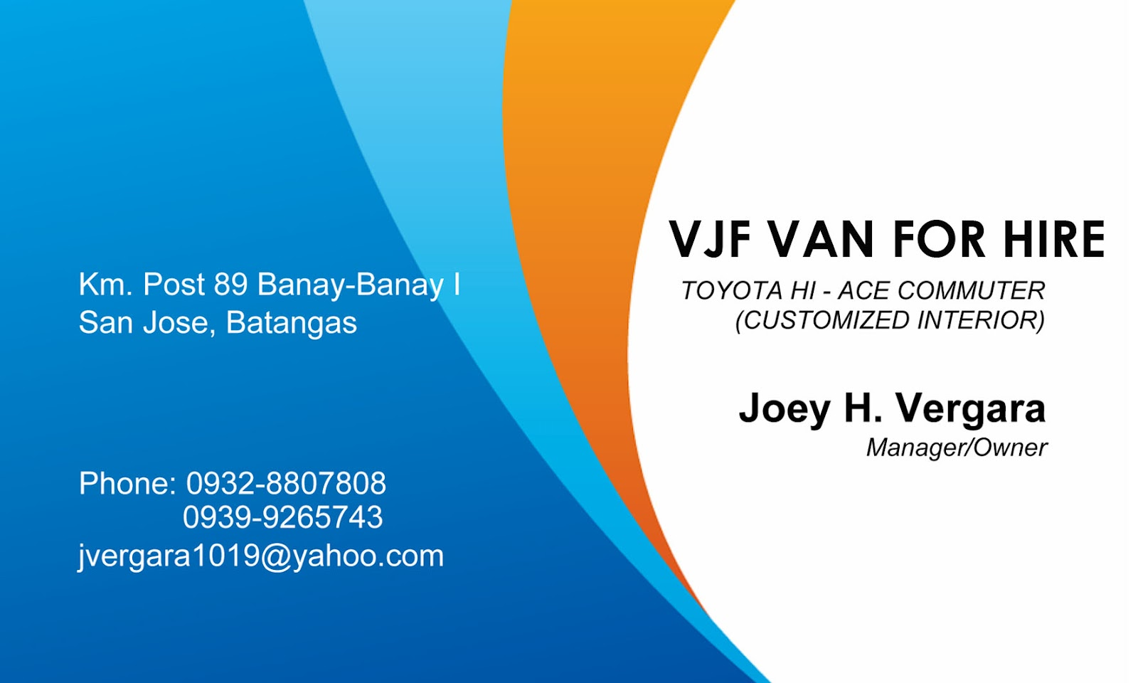 JDM Groceries & Business Center: VJF Van For Rent by Joey H ...