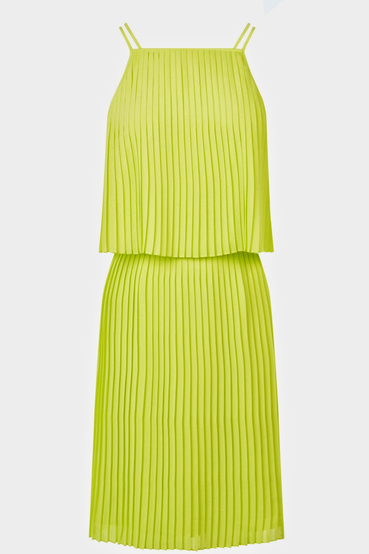 warehouse yellow pleat dress,