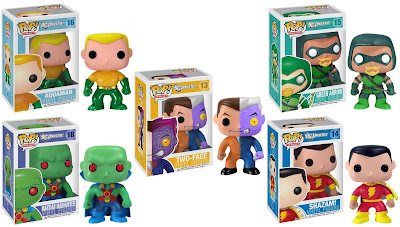 DC Universe Pop! Heroes Wave 3 by Funko - Aquaman, Green Arrow, Two-Face, Martian Manhunter, Hawkman & Captain Marvel Vinyl Figures