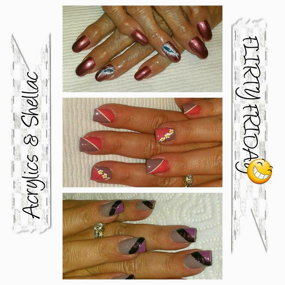 Acrylic back-fills and overlay extensions Shellac  sweet valentine nails