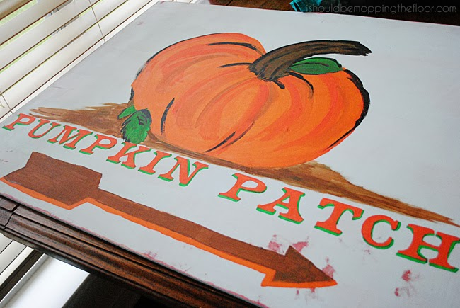 Step-by-step detailed tutorial on how to create a vintage fall sign, using mostly items you may have on hand.  Includes a free template for the lettering.